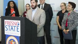 Assemblymember Dr. Arambula speaking at Student Homeless Press Conference