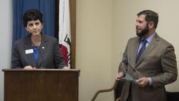 San Jose State University President Mary Papazian with Assemblymember Dr. Arambula