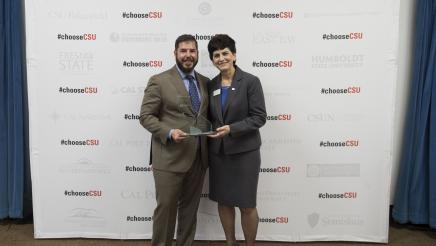 Assemblymember Dr. Arambula presents CSU Champion Award to San Jose State University President, Mary Papazian